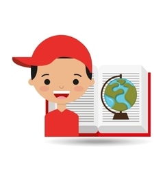cute boy book open globe vector image vector image