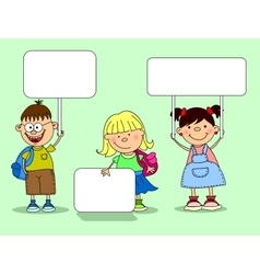 Cute Students Holding Signs vector image vector image