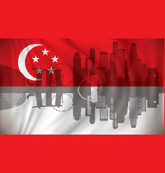 Flag of singapore with skyline vector