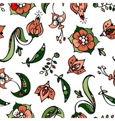 floral and pea-coal hand drawn seamless pattern vector image