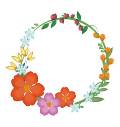 flowers leaves crown decoration vector image vector image