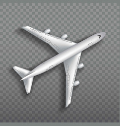 Flying airplane jet aircraft airliner top view vector