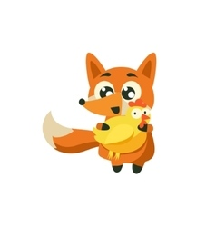 Fox holding chicken vector