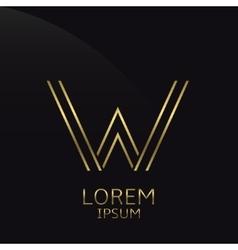 Golden W Letter vector image vector image