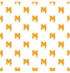 Letter m from honey pattern vector