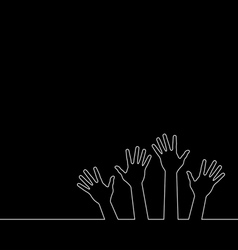 line of hands vector image