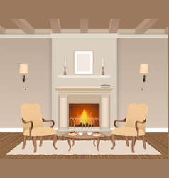 Living room interior with fireplace armchairs vector