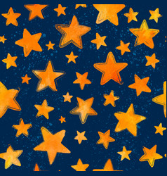 Orange watercolor painted stars on blue background vector
