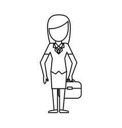 outlined woman girl avatar image vector image
