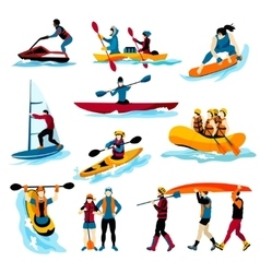 People in extreme water sports color icons vector