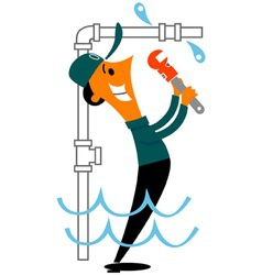 Plumber fixing leak vector