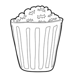 popcorn icon outline style vector image vector image