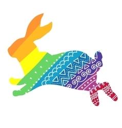 Rainbow rabbit with ornament vector