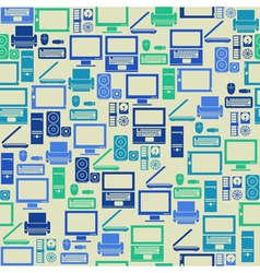 Seamless pattern with computer elements vector image