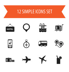 set of 12 editable trip icons includes symbols vector image vector image