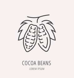 Simple logo template cocoa beans vector