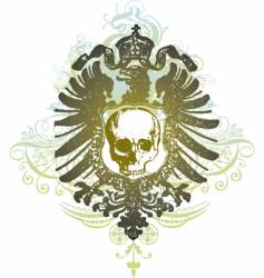 skull banner heraldic illustration vector image