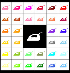 Smoothing iron sign felt-pen 33 colorful vector