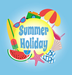 summer holiday circle banner design with colorful vector image vector image