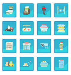 supermarket items icon blue app vector image