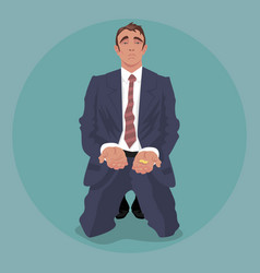 Tired businessman kneeling and begging vector