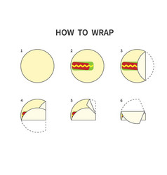 Tortilla wrapping guide burrito roll diagram how vector
