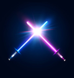 Two crossed light neon swords fight club logo vector