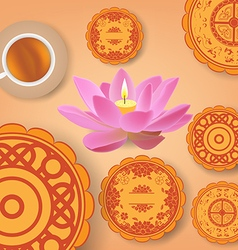 Chinese mid autumn festival background with lotus vector