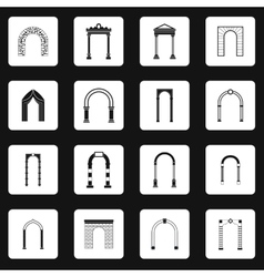 Arch icons set in simple style vector image