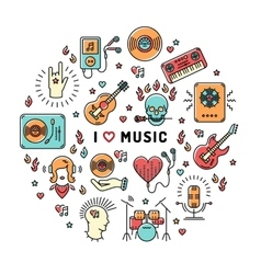 Music infographics line art icons inspiring quote vector