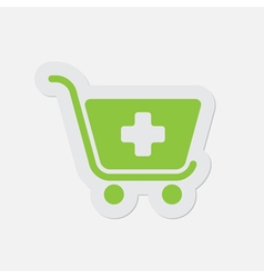 Simple green icon - shopping cart plus vector