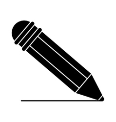 silhouette pencil writing utensil wood vector image