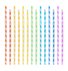 Colorful drinking straws set 3d striped icon vector
