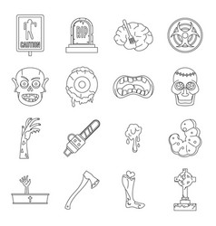 Zombie icons set parts outline style vector