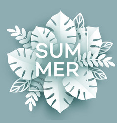 Summer tropical leaf paper cut style vector