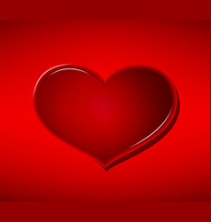 Glass heart on red background valentines day vector