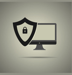 security systems icon in black and white style vector image