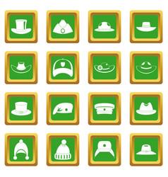 Headdress hat icons set green vector