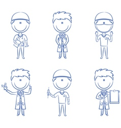 Doctor and health worker characters vector image