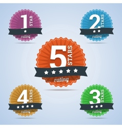 Rating badges from one to five stars vector