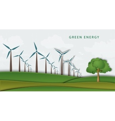 Wind turbines on clean field concept of clean vector