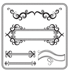 Set of frames decorated with swirls the vector