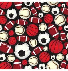 Various sport balls seamless color black pattern vector