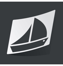 Monochrome sailing ship sticker vector