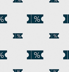 Ticket discount icon sign seamless pattern with vector