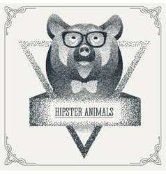 Halftone hipster bear with black dots vector