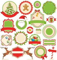Set of christmas winter labels icons flat vector