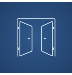 Open doors line icon vector