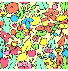 Childish cute pastel colored floral seamless vector