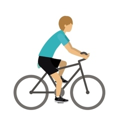 Male athlete practicing biking isolated icon vector